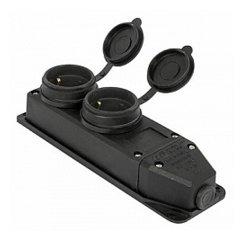 Розетка с защитной крышкой 16А, двойная, с з/к, e.socket.rubber.029.2.16
