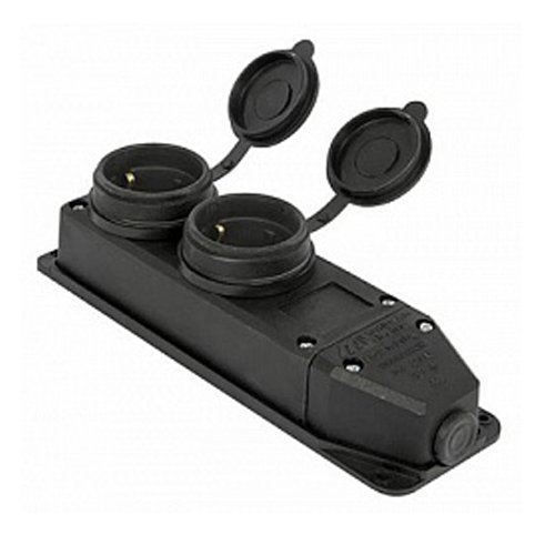 Фото Розетка с защитной крышкой 16А, двойная, с з/к, e.socket.rubber.029.2.16 Электробаза