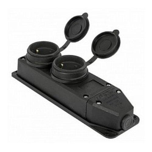 Фото Розетка с защитной крышкой 16А, с выключателем, с з/к,e.socket.rubber.029.2.16.s Электробаза