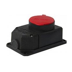 Розетка силовая 4п., 16А, с защитной крышкой, стационарная e.socket.rubber.062.16