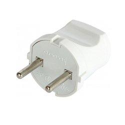Вилка электрическая 10А без з/к белая e.plug.001.10