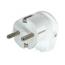 Вилка бытовая электрическая 16А с з/к угловая белая e.plug.angle.007.16