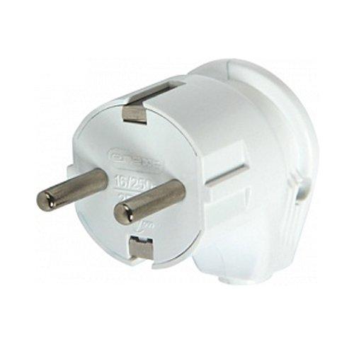 Фото Вилка бытовая электрическая 16А с з/к угловая белая e.plug.angle.007.16 Электробаза