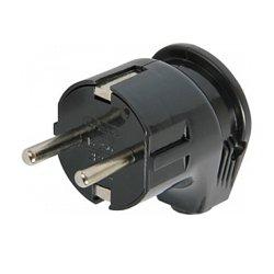 Вилка бытовая электрическая 16А с з/к угловая черная e.plug.angle.008.16