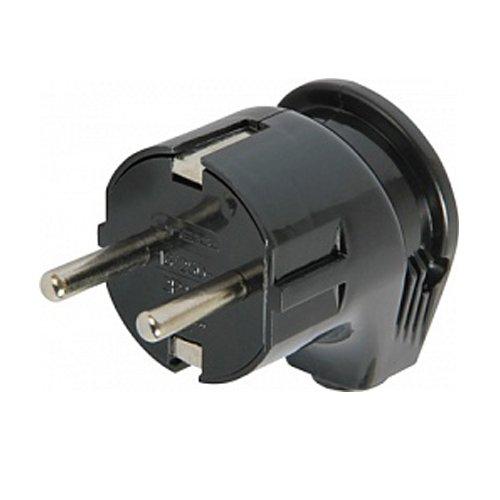 Фото Вилка бытовая электрическая 16А с з/к угловая черная e.plug.angle.008.16 Электробаза