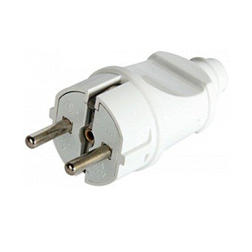 Фото Вилка бытовая 16А с з/к, прямая, белая, e.plug.straight.003.16 Электробаза
