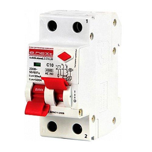 Фото Дифферинциальный автоматический выключатель 2р, 10А, C, 30мА e.elcb.stand.2.C10.30 Электробаза