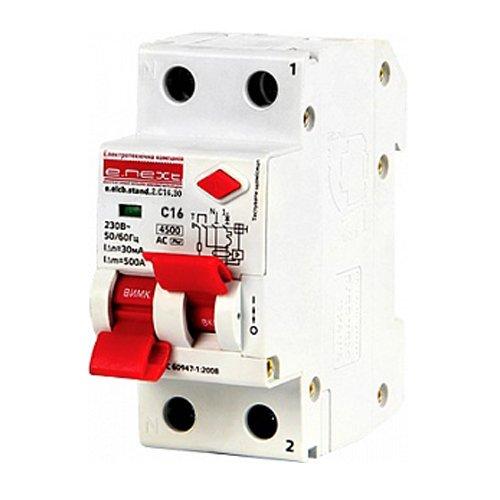 Фото Дифферинциальный автоматический выключатель 2р, 16А, C, 30мА e.elcb.stand.2.C16.30 Электробаза