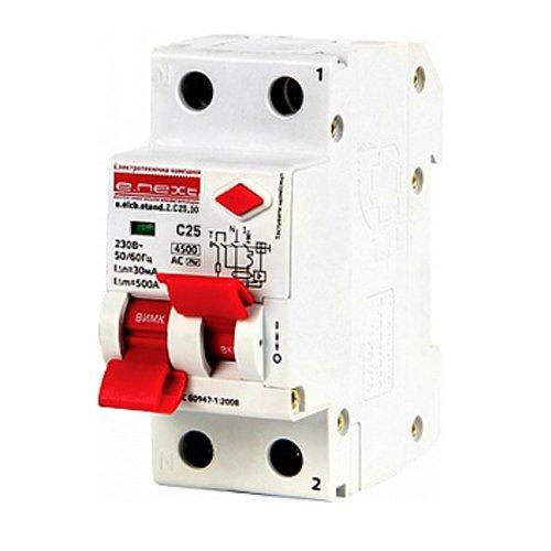 Фото Дифферинциальный автоматический выключатель 2р, 25А, C, 30мА e.elcb.stand.2.C25.30 Электробаза