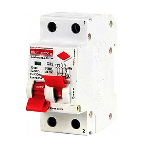 Фото Дифферинциальный автоматический выключатель 2р, 32А, C, 30мА e.elcb.stand.2.C32.30 Электробаза