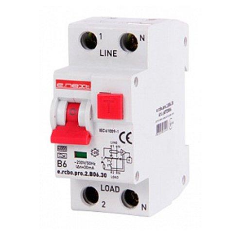 Фото Дифферинциальный автоматический выключатель 1P+N, 6А, В, тип А, 30мА e.rcbo.pro.2.B06.30 Электробаза