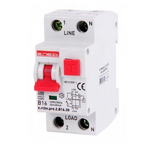 Фото Дифферинциальный автоматический выключатель 1P+N, 16А, В, тип А, 30мА e.rcbo.pro.2.B16.30 Электробаза
