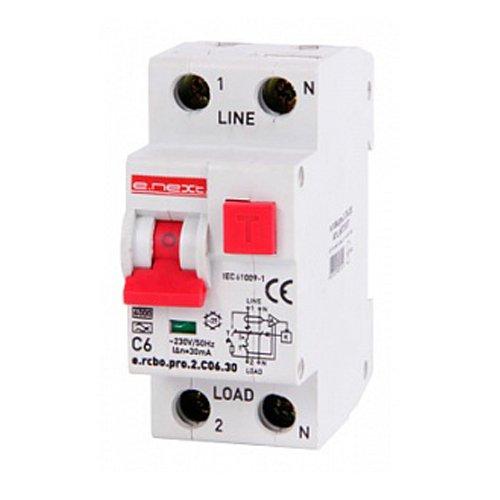 Фото Дифферинциальный автоматический выключатель 1P+N, 6А, С, тип А, 30мА e.rcbo.pro.2.C06.30 Электробаза