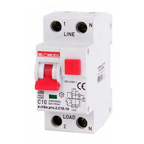 Фото Дифферинциальный автоматический выключатель 1P+N, 10А, С, тип А, 10мА e.rcbo.pro.2.C10.10 Электробаза