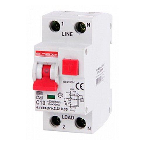 Фото Дифферинциальный автоматический выключатель 1P+N, 10А, С, тип А, 30мА e.rcbo.pro.2.C10.30 Электробаза