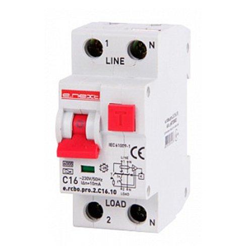 Фото Дифферинциальный автоматический выключатель 1P+N, 16А, С, тип А, 10мА e.rcbo.pro.2.C16.10 Электробаза