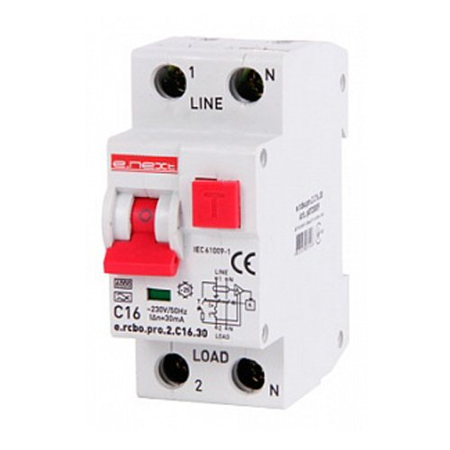 Фото Дифферинциальный автоматический выключатель 1P+N, 16А, С, тип А, 30мА e.rcbo.pro.2.C16.30 Электробаза