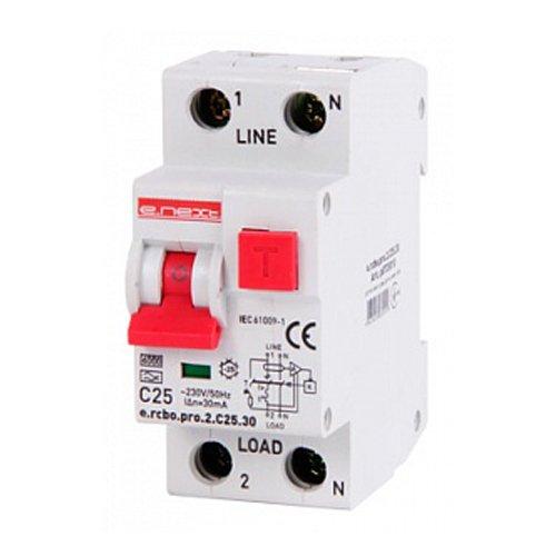 Фото Дифферинциальный автоматический выключатель 1P+N, 25А, С, тип А, 30мА e.rcbo.pro.2.C25.30 Электробаза