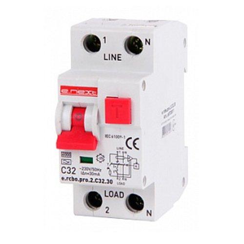 Фото Дифферинциальный автоматический выключатель 1P+N, 32А, С, тип А, 30мА e.rcbo.pro.2.C32.30 Электробаза