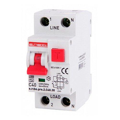 Фото Дифферинциальный автоматический выключатель 1P+N, 40А, С, тип А, 30мА e.rcbo.pro.2.C40.30 Электробаза