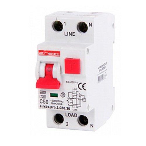 Фото Дифферинциальный автоматический выключатель 1P+N, 50А, С, тип А, 30мА e.rcbo.pro.2.C50.30 Электробаза