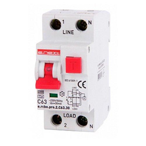 Фото Дифферинциальный автоматический выключатель 1P+N, 63А, С, тип А, 30мА e.rcbo.pro.2.C63.30 Электробаза