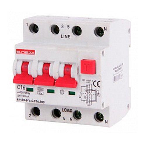 Фото Дифферинциальный автоматический выключатель 3P+N, 16А, С, тип А, 100мА e.rcbo.pro.4.C16.100 Электробаза