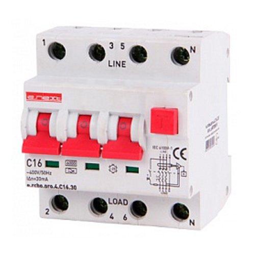 Фото Дифферинциальный автоматический выключатель 3P+N, 16А, С, тип А, 30мА e.rcbo.pro.4.C16.30 Электробаза