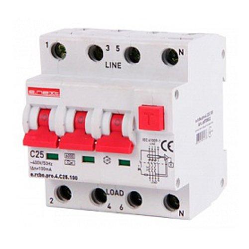 Фото Дифферинциальный автоматический выключатель 3P+N, 25А, С, тип А, 1мА e.rcbo.pro.4.C25.100 Электробаза