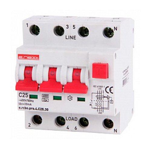 Фото Дифферинциальный автоматический выключатель 3P+N, 25А, С, тип А, 30мА e.rcbo.pro.4.C25.30 Электробаза