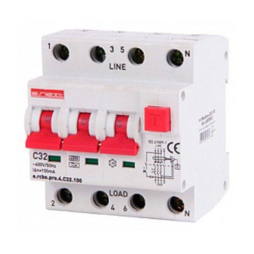 Фото Дифферинциальный автоматический выключатель 3P+N, 32А, С, тип А, 100мА e.rcbo.pro.4.C32.100 Электробаза