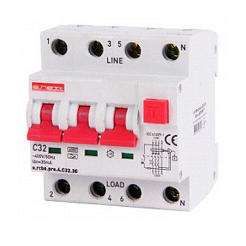 Фото Дифферинциальный автоматический выключатель 3P+N, 32А, С, тип А, 30мА e.rcbo.pro.4.C32.30 Электробаза