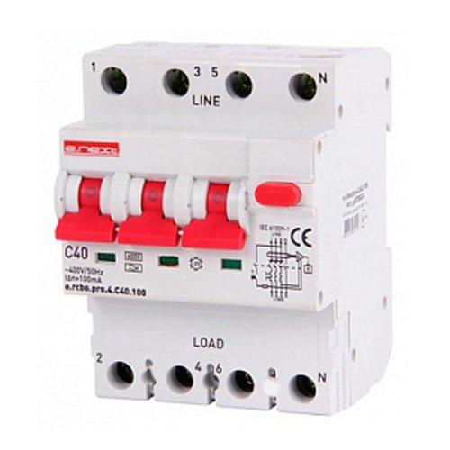 Фото Дифферинциальный автоматический выключатель 3P+N, 40А, С, тип А, 100мА e.rcbo.pro.4.C40.100 Электробаза