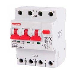 Дифферинциальный автоматический выключатель 3P+N, 40А, С, тип А, 30мА e.rcbo.pro.4.C40.30