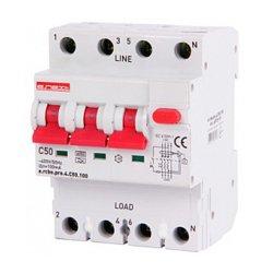 Дифферинциальный автоматический выключатель 3P+N, 50А, С, тип А, 100мА e.rcbo.pro.4.C50.100