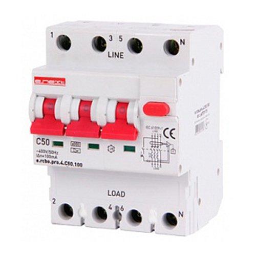 Фото Дифферинциальный автоматический выключатель 3P+N, 50А, С, тип А, 100мА e.rcbo.pro.4.C50.100 Электробаза
