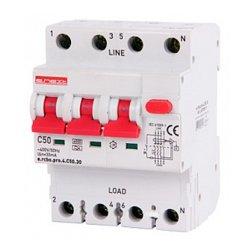 Дифферинциальный автоматический выключатель 3P+N, 50А, С, тип А, 30мА e.rcbo.pro.4.C50.30