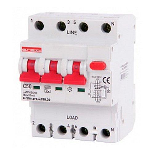 Фото Дифферинциальный автоматический выключатель 3P+N, 50А, С, тип А, 30мА e.rcbo.pro.4.C50.30 Электробаза