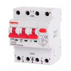 Дифферинциальный автоматический выключатель 3P+N, 63А, С, тип А, 100мА e.rcbo.pro.4.C63.100