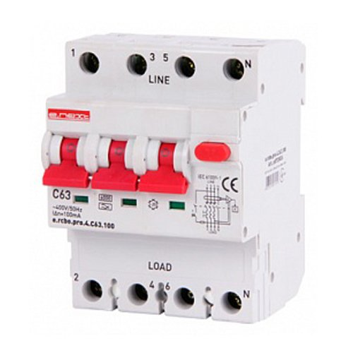Фото Дифферинциальный автоматический выключатель 3P+N, 63А, С, тип А, 100мА e.rcbo.pro.4.C63.100 Электробаза