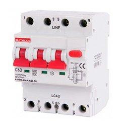 Дифферинциальный автоматический выключатель 3P+N, 63А, С, тип А, 30мА e.rcbo.pro.4.C63.30