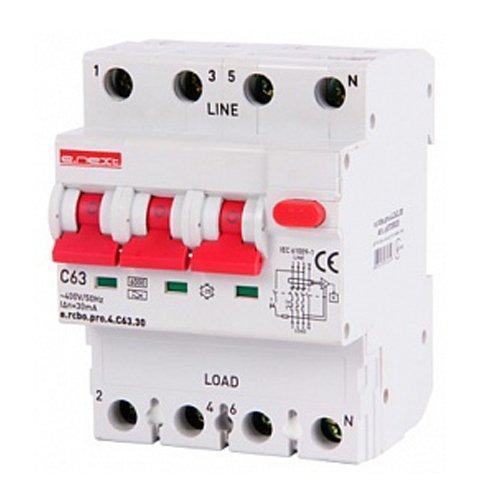 Фото Дифферинциальный автоматический выключатель 3P+N, 63А, С, тип А, 30мА e.rcbo.pro.4.C63.30 Электробаза