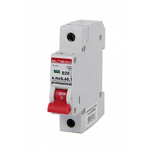 Фото Однополюсный автоматический выключатель 1р, 25А, D, 6кА, e.mcb.pro.60.1.D.25 Электробаза