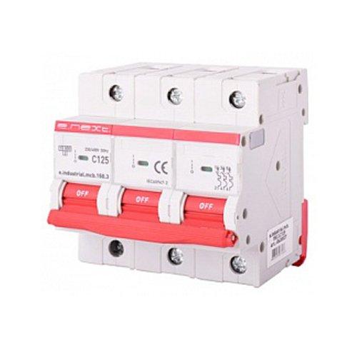 Фото Трёхполюсный автоматический выключатель, 3р, 125А, C, 15кА, e.industrial.mcb.150.3.C125 Электробаза