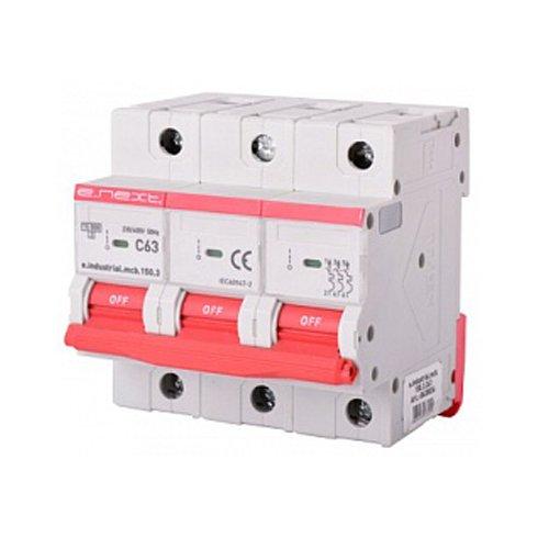 Фото Трёхполюсный автоматический выключатель, 3р, 63А, C, 15кА, e.industrial.mcb.150.3.C63 Электробаза