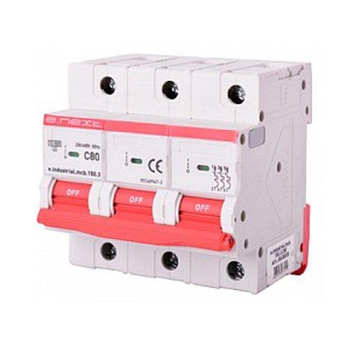 Фото Трёхполюсный автоматический выключатель, 3р, 80А, C, 15кА, e.industrial.mcb.150.3.C80 Электробаза