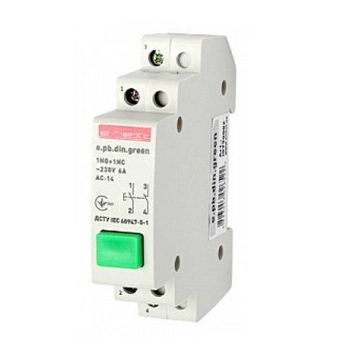 Фото Кнопка на DIN-рейку, зелёная, e.pb.din.green Электробаза