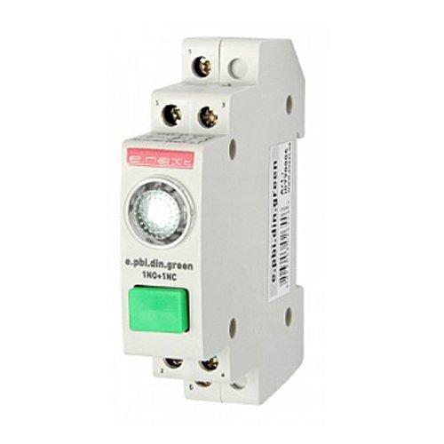 Фото Кнопка на DIN-рейку с индикатором, зелёная, e.pbi.din.green Электробаза