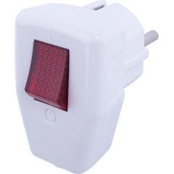 Вилка электрическая угловая с з/к 16А белая с выключателем