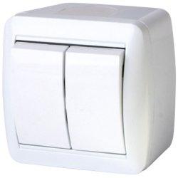 Выключатель света двухклавишный для внешнего монтажа IP44 e.aqua.1112.gr